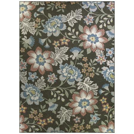 Mainstays Gray Floral Loop Pile Print Area Rug Or Runner Walmart