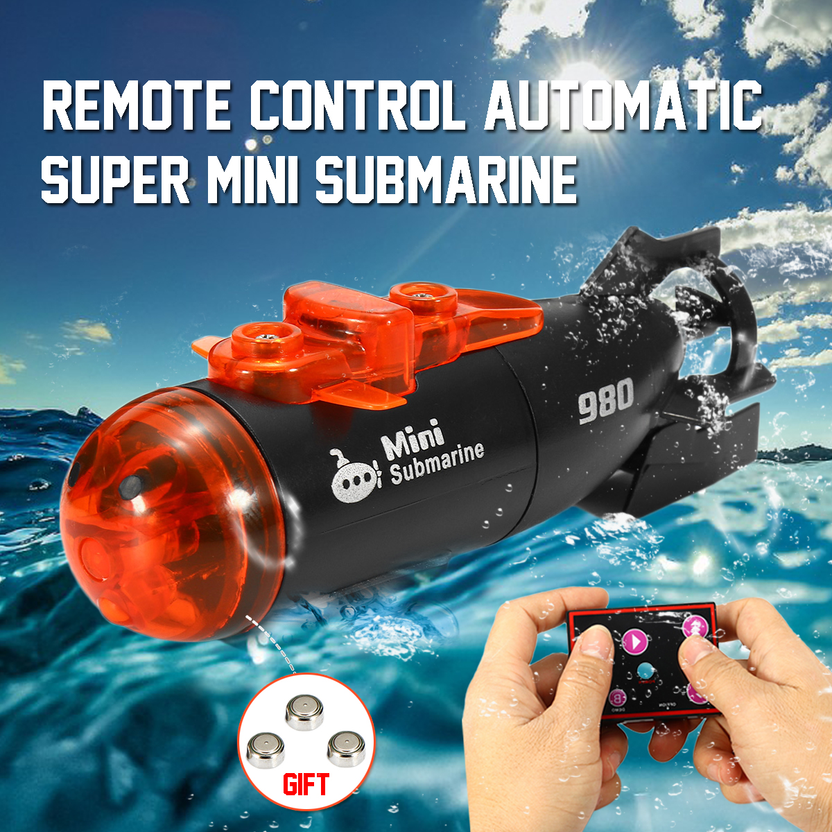 "3"" Mini RC Submarine Boat Ship Micro Radio Remote Control Automatic With LED Light RC Toy For Kids Child Waterproof"