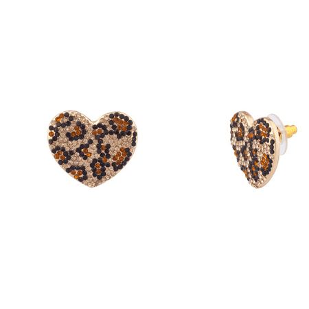 Lux Accessories Leopard Print Pave Crystal Animal Heart Stud Earrings