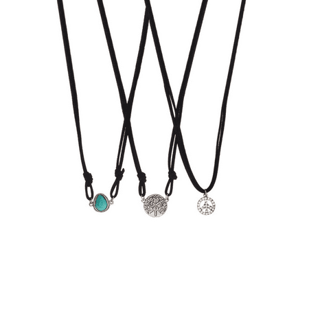 Lux Accessories Turquoise & Black Suede Pendant Tree of Life Pave Peace Sign Necklace Set