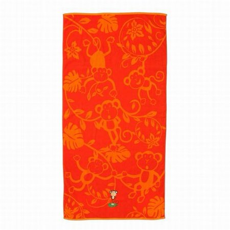 Shopko Bright Orange Monkey Print Plush Cotton Beach Towel 32X63