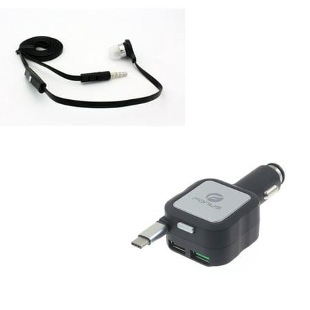 Retractable Car Charger w Wired Earphone Mono Headset R7N for Huawei Google Nexus 6P, Mate 9, Honor 8, 20 10 - Kyocera DuraForce Pro 2 - Lenovo Moto Tab (10.1) - LG G5, V20, G6, V30