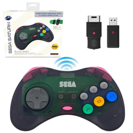 Retro-Bit Official Sega Saturn 2.4 GHz Wireless Controller 8-Button Arcade Pad for Sega Saturn, Sega Genesis Mini, Nintendo Switch, PS3, PC, Mac - Includes 2 Receivers & Storage Case - Slate Gray