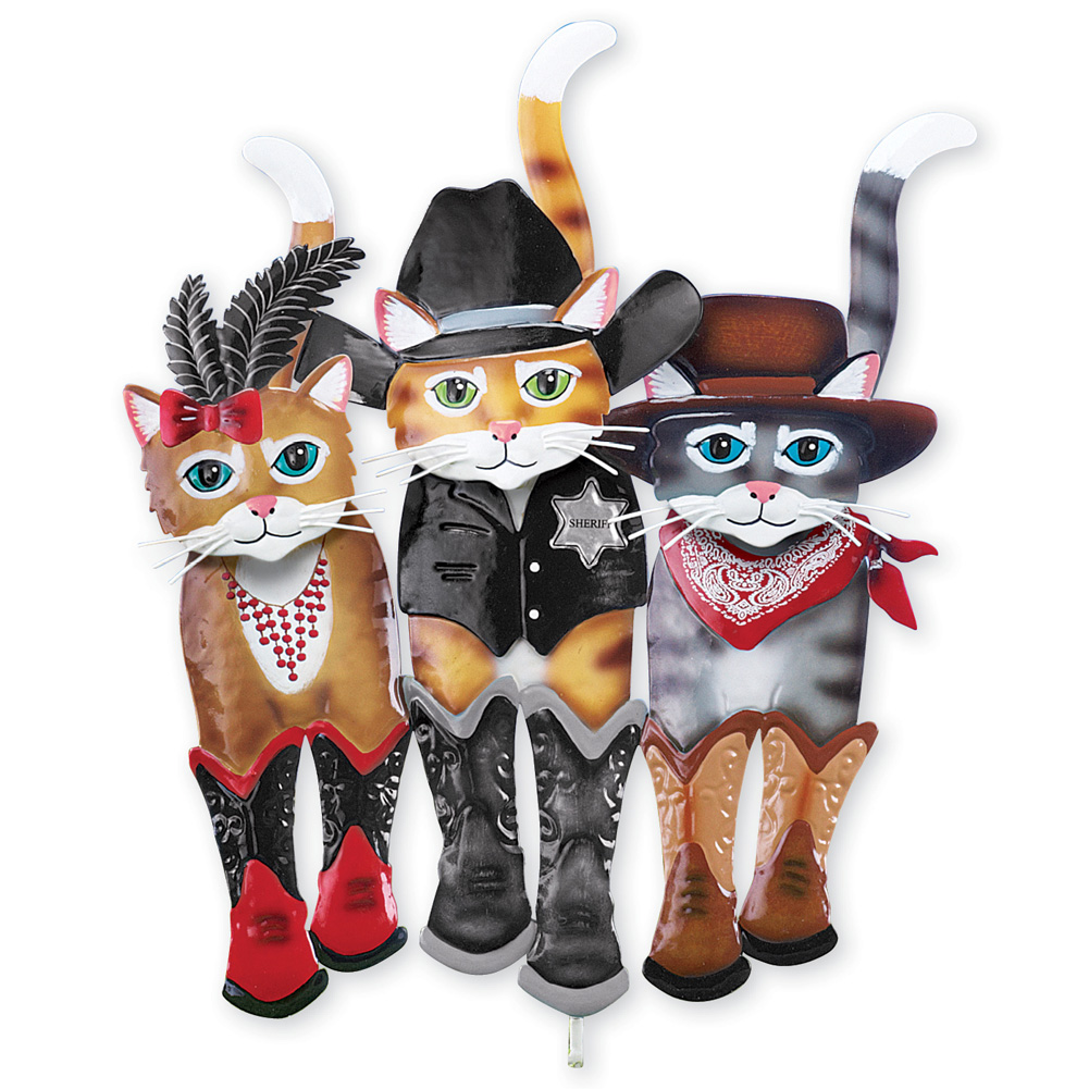 Old West Cat Trio Decorative Outdoor Yard Stake