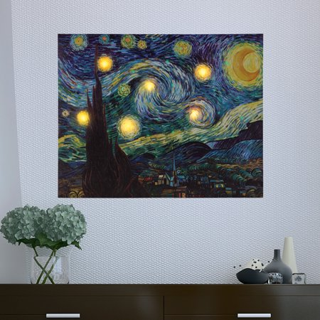 Lighted Wall Art Canvas With Timer- Van Gogh Starry Night Printed Decor with LED And Color-Changing Lights for Home and Office , 16x20 by Lavish (Van Gogh Starry Night Painting For Sale)