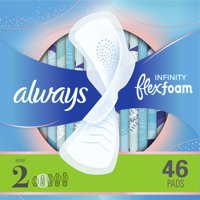 Always Infinity Pads, Winged, Unscented, Super Absorb, Size 2, 46 ct