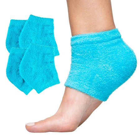 ZenToes Moisturizing Heel Socks 2 Pairs Gel Lined Fuzzy Toeless Spa Socks to Heal and Treat Dry, Cracked Heels While You Sleep (Fuzzy,