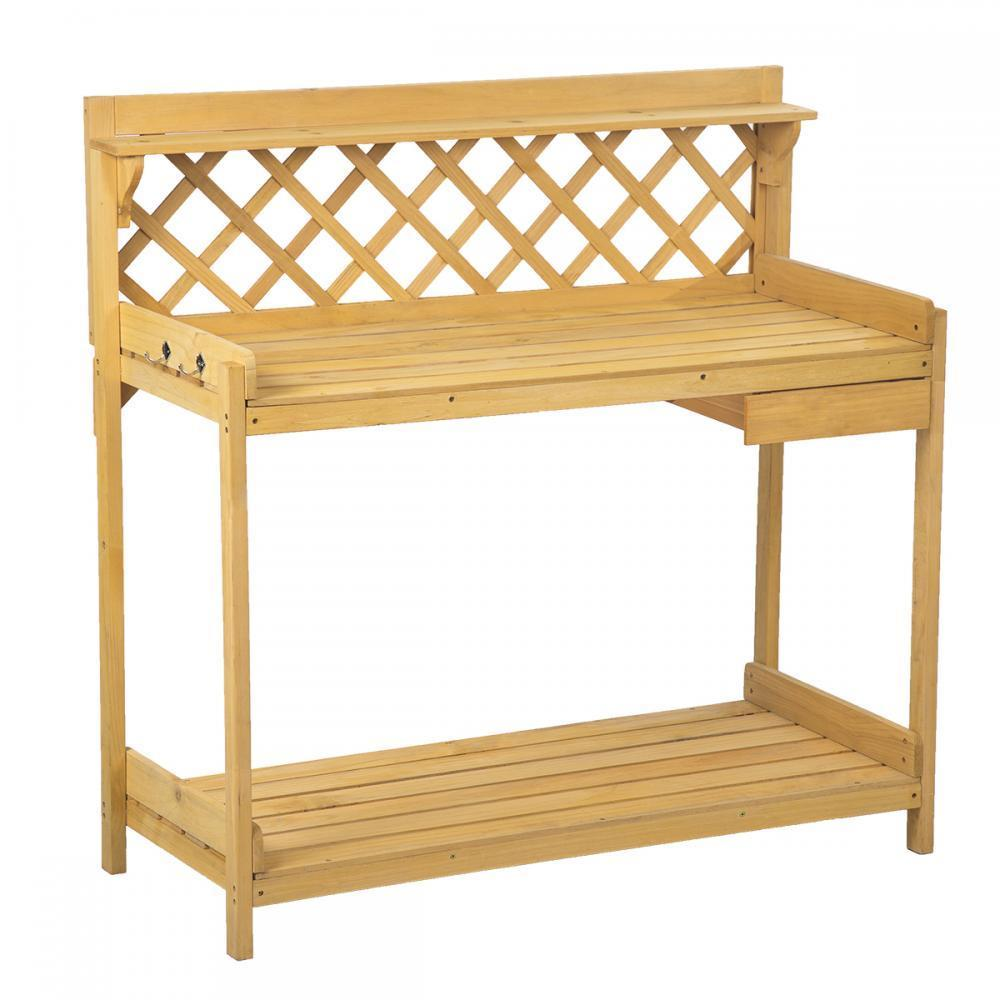 Potting Bench Outdoor Garden Work Bench Station Planting Wood Construction  114   Walmart.com