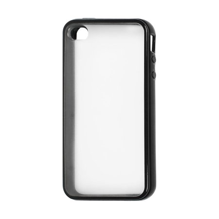 - Plastic TPU Phone Case Protector Shell Clear Black for iPhone 4 4S