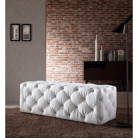 Divani Casa Maria Modern White Eco Leather Bench W Crystals