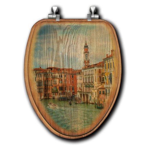 Strange Wgi Gallery Venice By Day Oak Elongated Toilet Seat Dailytribune Chair Design For Home Dailytribuneorg