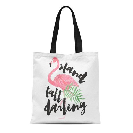 LADDKE Canvas Tote Bag Watercolor Modern Black Brush Stand Tall Pink Strokes Funny Reusable Handbag Shoulder Grocery Shopping - Ping Stand Bags