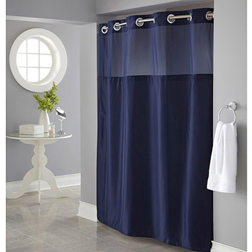 Blue shower curtain royal navy emma ribbon trim shower for Small bathroom no natural light