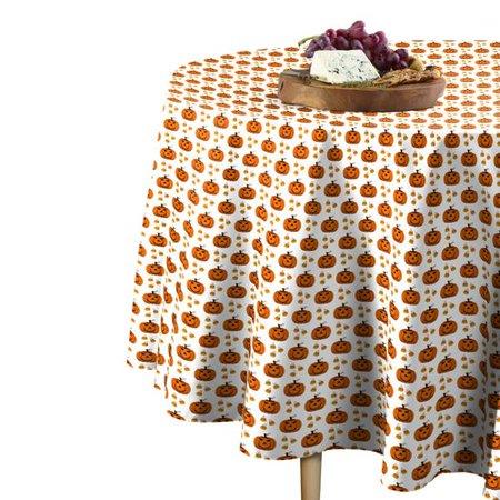 The Holiday Aisle Knowles Halloween Corny Pumpkins Round Tablecloth - Corny Halloween Sayings