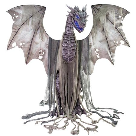 7ft. Winter Dragon Animated Prop Halloween Decoration - Paper Bag Decorations For Halloween