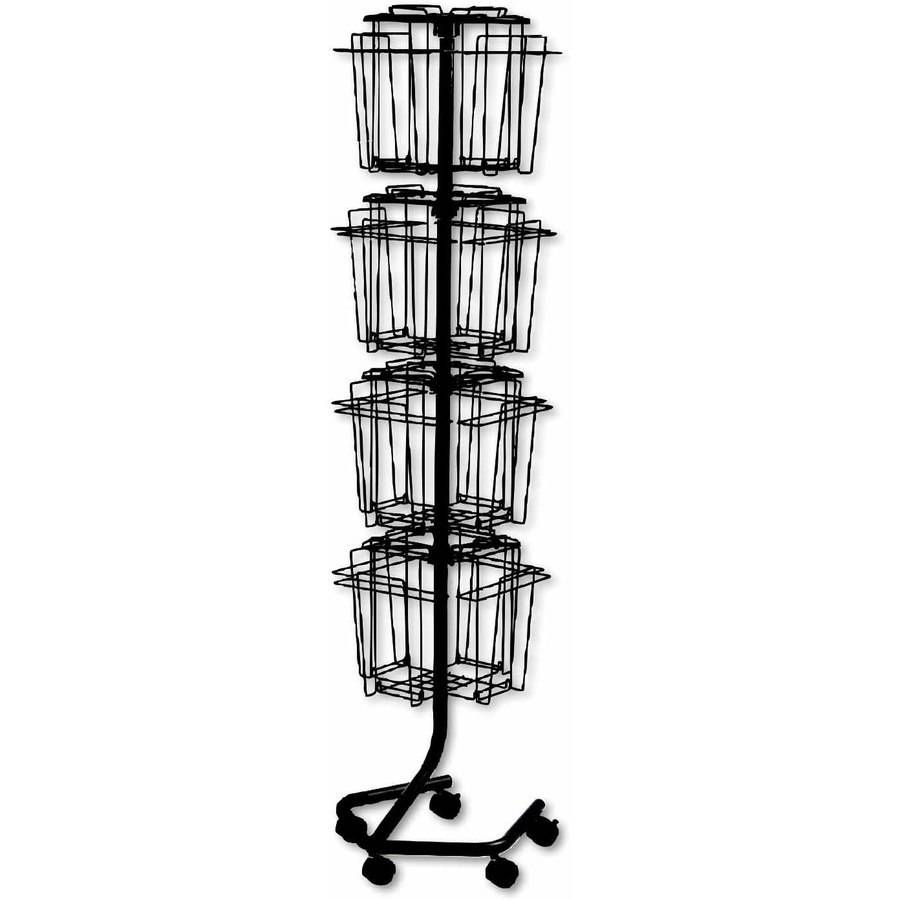 "Safco Wire Rotary Display Racks, 16 Compartments, 15""W x 15""D x 60""H, Charcoal"