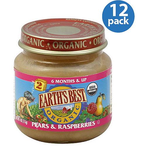 Earth's Best Organic Pears & Raspberries, 4 oz (Pack of 12)