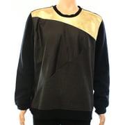 INC NEW Black Gold Mens Size XL Colorblock Faux-Leather Crewneck Sweater $39