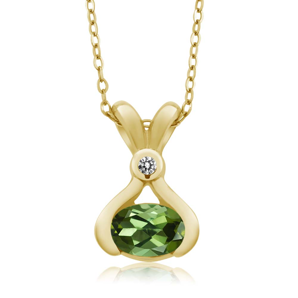 0.73 Ct Oval Green Tourmaline White Diamond 14K Yellow Gold Pendant by