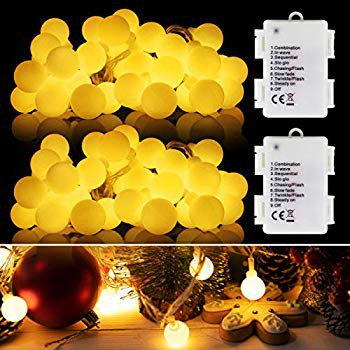 LED Globe String Lights, 2 Packs13ft 40 LED Balls String Lights, 8 Modes Battery Operated with Timer Globe String Lights (White Warm) for Outdoor/Indoor Bedroom, Garden, Patio, Wedding
