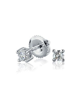 Minimalist Tiny .25CT CZ Simulated Gemstones Solitaire Cartilage Stud Earrings For Women Sterling Silver Screwback