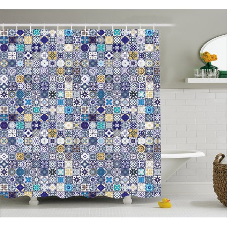 Moroccan Shower Curtain Mediterranean Square Tile Motifs Pattern Vintage Traditional Artistic Collection Fabric Bathroom