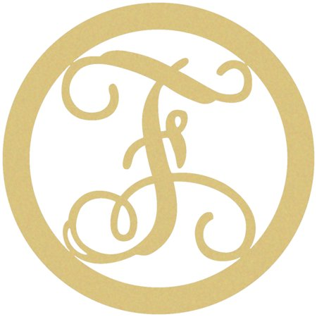 Wooden Circle Monogram Letter, 18'' F Custom Wood Lettering](Monogram F)