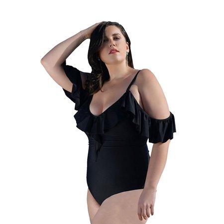 Yacht & Smith Plus Size Womens Swimsuit, Fashion One Piece Bathing Suit Tank (Black, 2X)