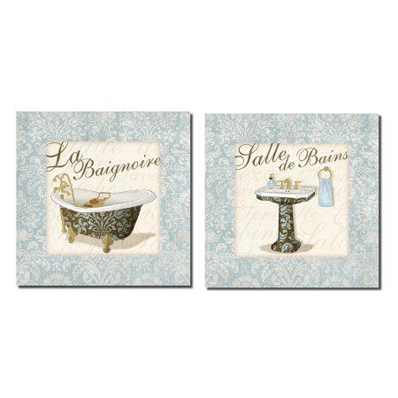 Lovely Light Blue French Salle De Bains and La Baignore Sign; Bathroom Decor; Two 12X12 Poster Prints