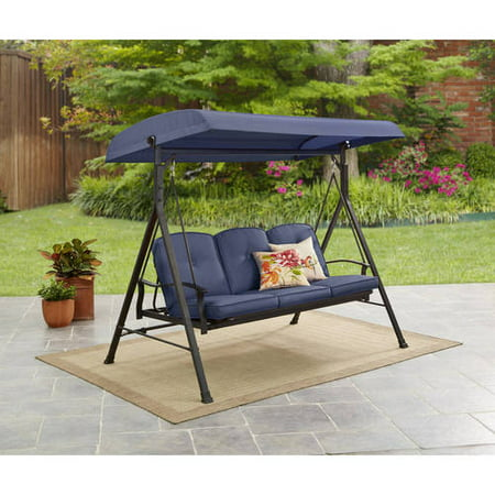 Mainstays Belden Park Outdoor 3-Seat Porch Swing and Bed with Canopy, Blue