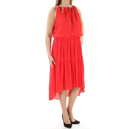 SANGRIA Womens Red Cut Out  Tie Sleeveless Jewel Neck Midi Hi-Lo Dress  Size: 12
