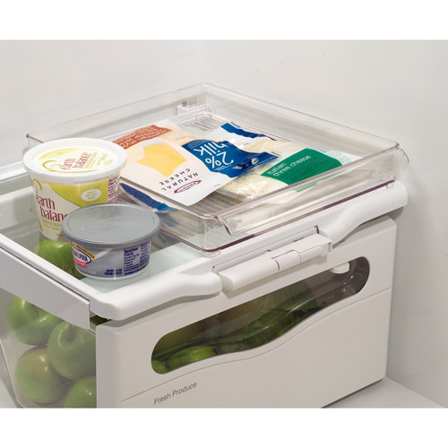 "InterDesign Refrigerator and Freezer Storage Organizer Tray for Kitchen, 12"" x 2"" x 14.5"", Clear"