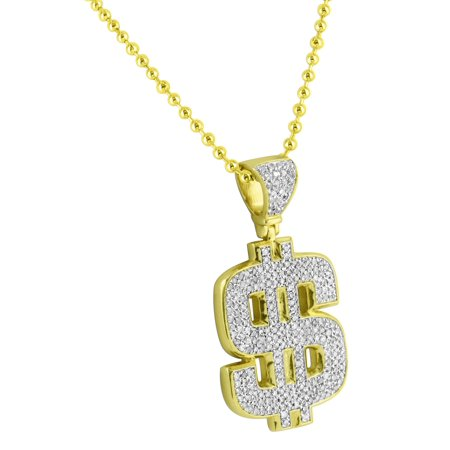 Dollar Sign Pendant 14k Gold Over Sterling Silver 0.95 Carat Diamonds Moon Cut Chain
