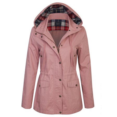 Womens Santa Jacket (KOGMO Womens Zip Up Anorak Safari Jacket with Checker Lining)