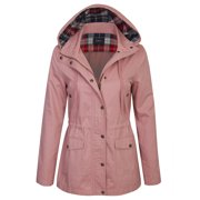 KOGMO Womens Zip Up Anorak Safari Jacket with Checker Lining Hoodie