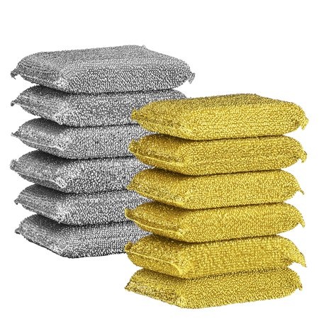 Elite Selection Non-Metal Scrubbing Sponges – Heavy-Duty No Scratch Kitchen Sponges – Multi-Surface & Antibacterial Scrub Sponges for A Thorough and Quicker Clean – 12 Pack – 6 Gold + 6 Siver