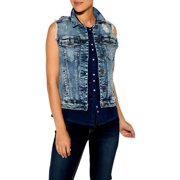 Silver Jeans Denim Vest Womens Button Front Med Wash LV0002SJL258