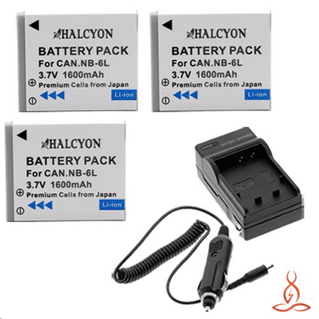 Three Halcyon 1600 Mah Lithium Ion Replacement Battery And Charger Kit For Canon Powershot Sx500 Is Digital Camera And Canon Nb 6L
