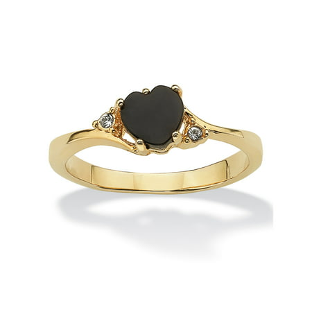 Heart Shaped Crystal Ring (Heart-Shaped Genuine Onyx and Crystal Accent 14k Yellow Gold-Plated Ring )