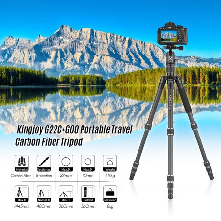 Kingjoy G22C+G00 Portable Travel Carbon Fiber Camera Tripod Monopod with 360 Degree Ball Head 5-Section Adjustable Max. Working Height (Best Budget Carbon Fiber Tripod)