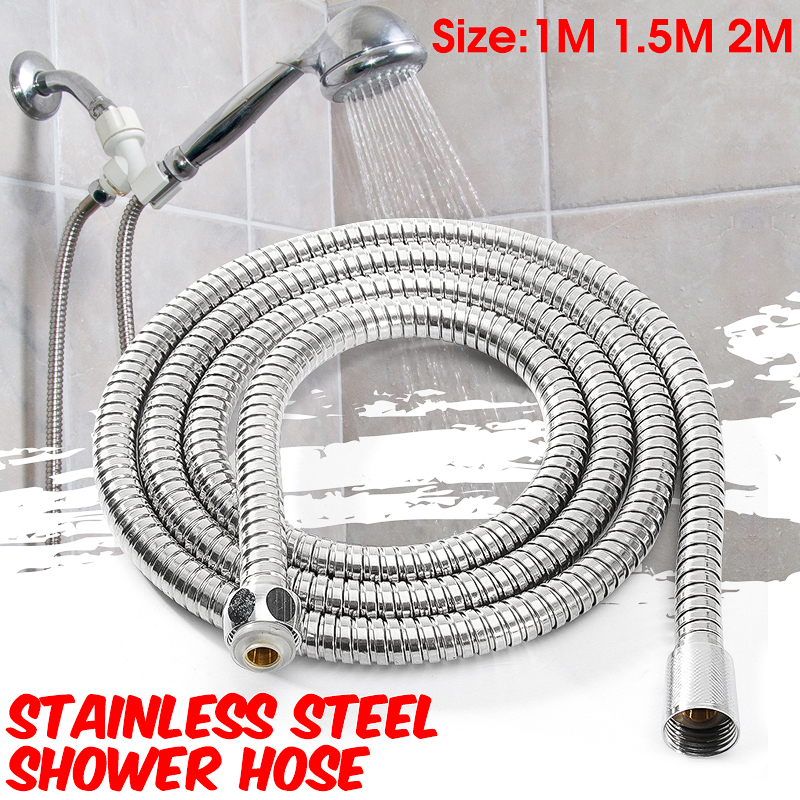 "40/59/79inch Long Flexible Bathroom Stainless Steel Shower Hose Stretches Handheld Toilet Showerhead Hose Replacement 1/2"" bathhose Water Head Pipe"