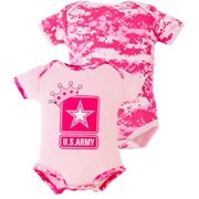 Pink Camo United States Army Logo 2 pk Baby Bodysuit 3-6M