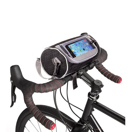 - Boxiki travel Bicycle Handlebar Bag for Road Bikes, Mountain Bikes & Motorcycles. Bike Pannier Pouch w/Touchscreen Phone Holder. Waterproof Bike Frame Storage Bag Removable Shoulder Strap