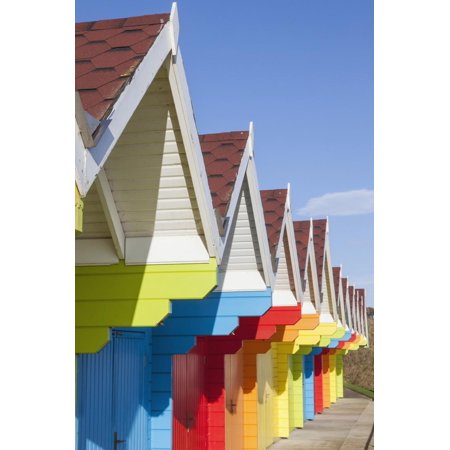 England, Yorkshire, Scarborough, Colourful Beach Huts Print Wall Art By Steve (Beach Huts Scarborough)