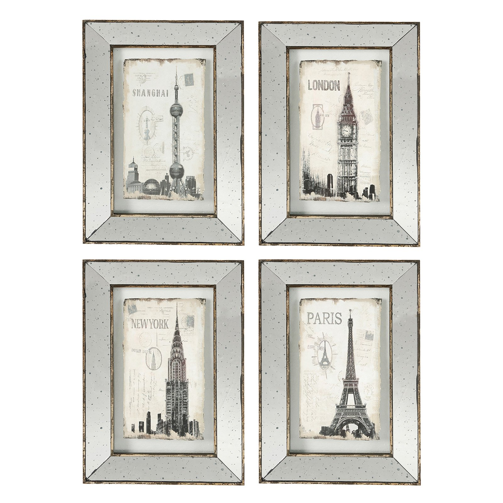 Image of A and B Home Architecture Mirrored Wall Art - Set of 4