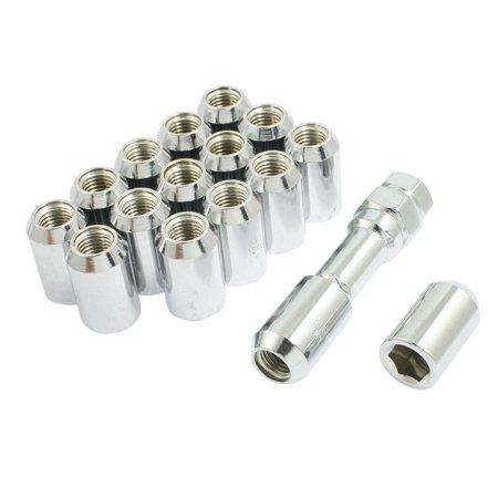 Unique Bargains Unique Bargains M12x1.5 Silver Tone Metal Hex Locking Lug Nuts 16 Pcs for Wheel