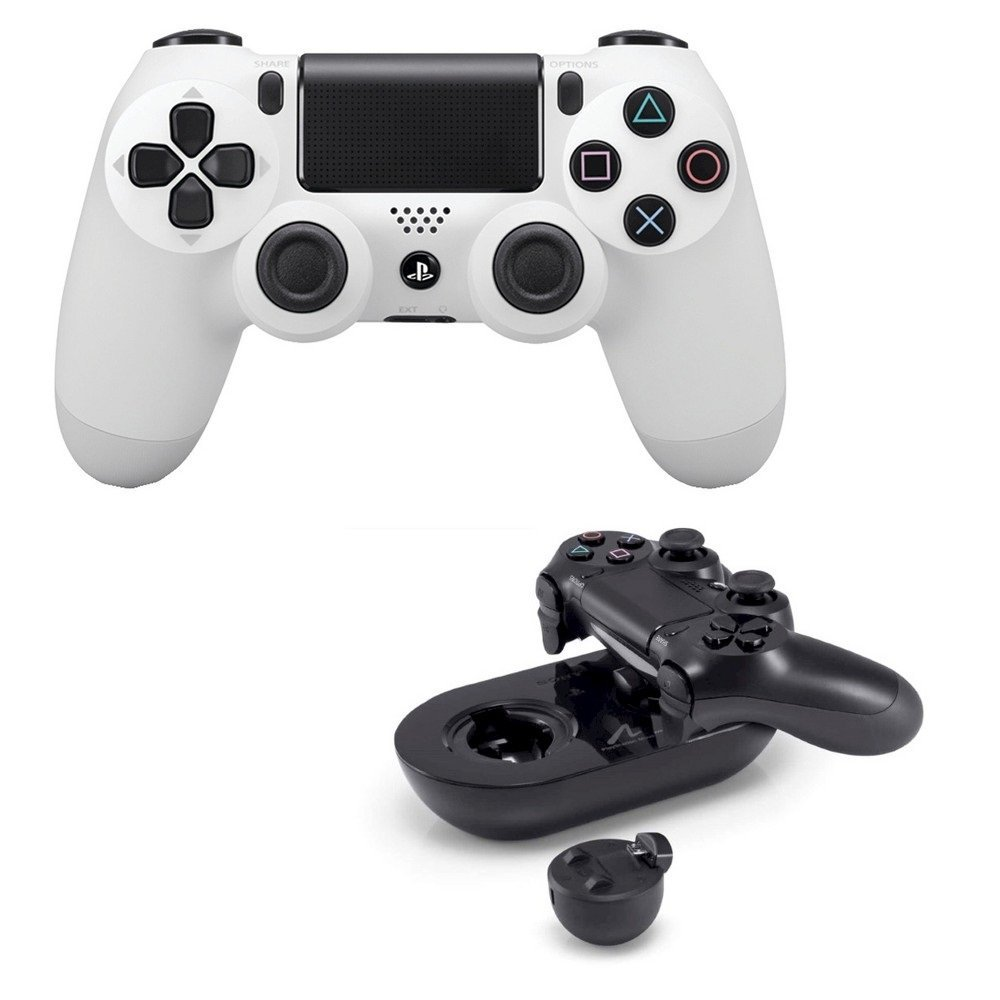 Sony White Dualshock 4 Wireless Controller with Sony Charge Station Playstation 4 by