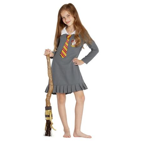 Harry Potter Pajama Girls' Hermione Gryffindor Uniform With Tie Fleece Nightgown Costume