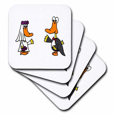 3dRose Funny Yellow Ducks Bride and Groom Wedding Cartoon, Soft Coasters, set of 8