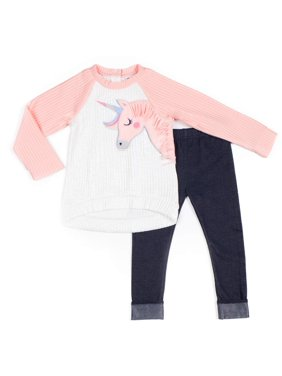 Little Lass Quilted Unicorn Top and Racer Stripe Denim Leggings, 2pc Outfit Set (Baby Girls & Toddler Girls)
